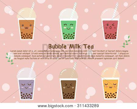Six Plastic Cups Of Variety Flavor Sweet Brown Sugar Bubble Milk Tea. Boba Tea Or Bubble Milk Tea In