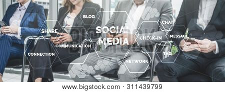 Social Media And Young People Network Concept. Modern Graphic Interface Showing Online Social Connec