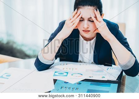 Emotional Pressure And Deadlines. Portrait Of Stressed Out Business Woman Sitting With Papers At Off