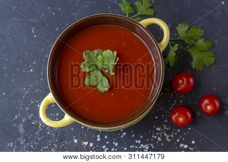 Traditional Spanish Cold Vegetabl Soup Gazpacho. Homemade Tomato Soup With Tomatoes, Herbs And Spice