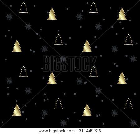 Seamless Pattern With Christmas Trees. Gold Pattern On Black Background. Festive Texture. Holiday Xm