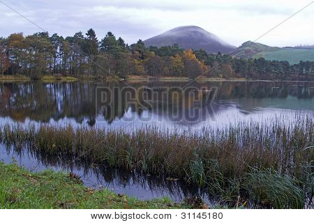 misty sunrise over Eildon Hills and Bowden Loch, nr Melsrose, Scottish Borders