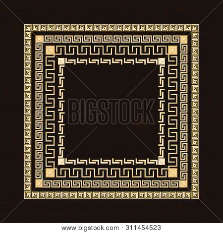 Traditional Simple Meander. Golden Square Frame On The Dark Background. Ancient Greek Ornament. Vect