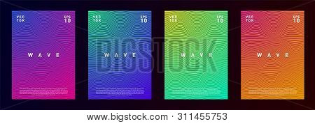 Set Of Wave Lines Gradient Texture Fluid Background Design For Advertising, Journal, Flyer, Poster,