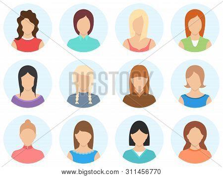 Women Avatar Set Isolated On White Background. Simple Shape Women Avatar. Set Of Women Avatar Icons.
