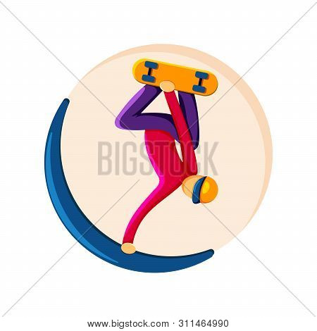 Snowboarder Performs A Trick, Jump With Capture. Emblem, Badge, Sticker.
