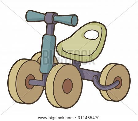 Wooden Toy Bike Icon With Four Wheels In Vintage Color Palette.