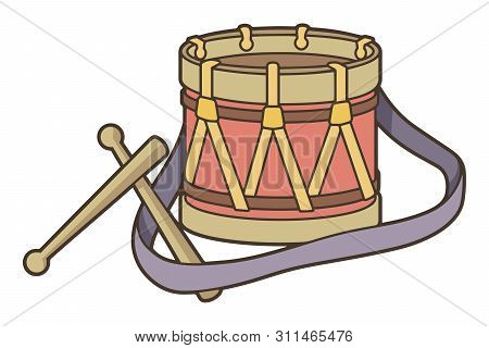 Toy Drum Icon With Strap And Drumsticks In Vintage Color Palette.