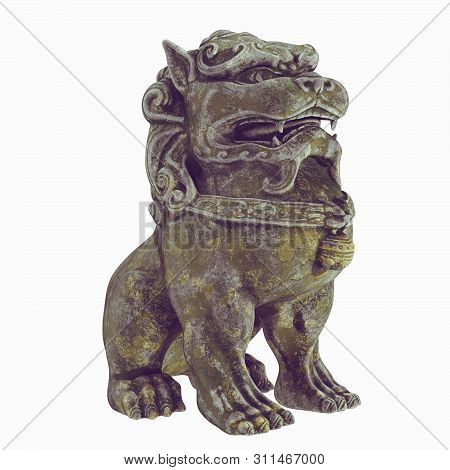 Foo Dog. Sculpture Of A Traditional Chinese Guardian Lion. Asian Dog. 3d Model. Render. Isolated On
