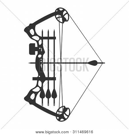 Stretched Compound Bow. Modern Hunting Compound Bow And Arrow. Vector Illustration