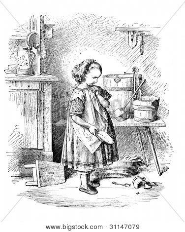 """The Broken Plate"" - engraving by Oscar Pletsch. Published in Little Folks book, London, 1865"