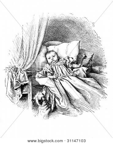 """A peep into the world"" - engraving by Oscar Pletsch. Published in Little Folks book, London, 1865"
