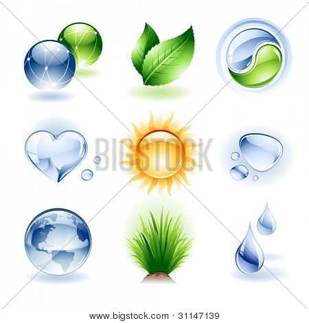 Vector set of various nature icons / design elements