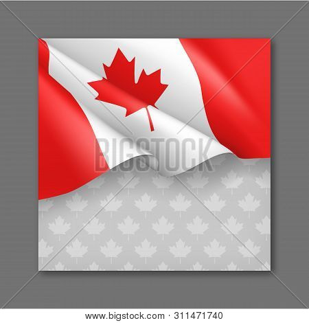 Canadian Patriotic Festive Background With National Official Colors. Realistic Waving Canadian Flag