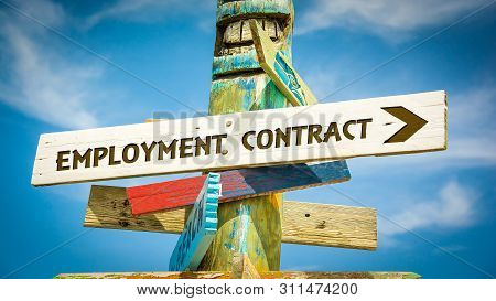 Street Sign The Direction Way To Employment Contract