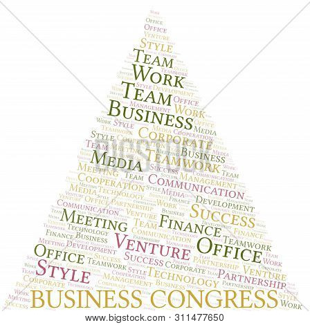 Business Congress Word Cloud. Collage Made With Text Only.