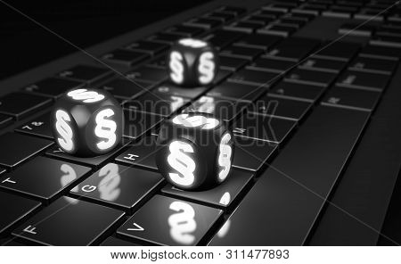 Cubes With Paragraph Sign On Computer Keyboard. 3d Render