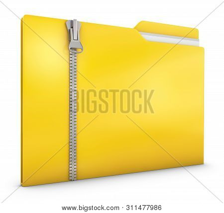 Yellow Folder With Zipper On A White Background. 3d Render