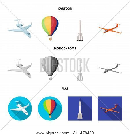 Isolated Object Of Transport And Object Logo. Collection Of Transport And Gliding Stock Vector Illus