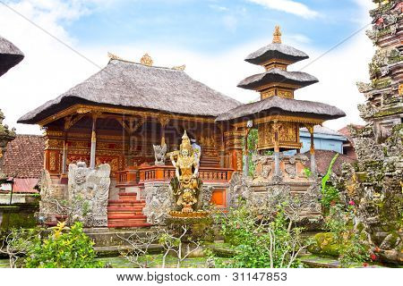 Pura Saraswati temple at the lovey village of Ubud, Bali, Indonesia