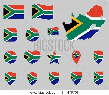 South Africa Flag Icon Set, Flag Of The Republic Of South Africa Symbols