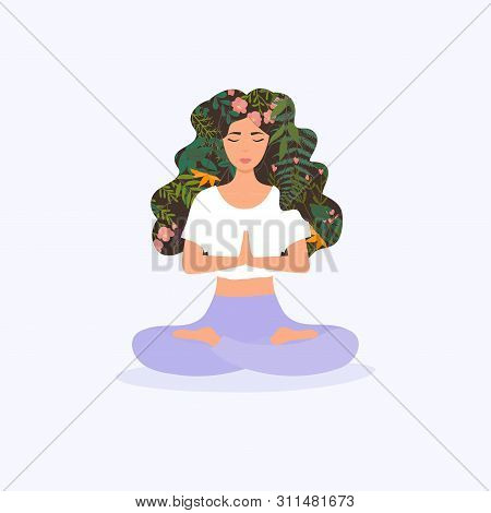 Girl With Flower Hair In Gyan Mudra Yoga Namaste Pose Exercise. Meditation Health Benefits For Body,