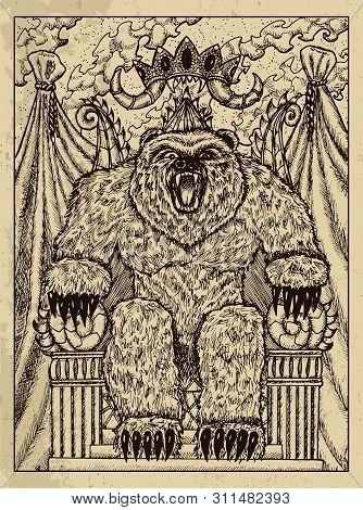 Bear. Mystic Concept For Lenormand Oracle Tarot Card. Vector Engraved Illustration. Fantasy Line Art