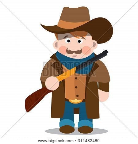 Middle Aged Man With A Gun In Jeans, A Long Coat And A Cowboy Hat. Cartoon Character.