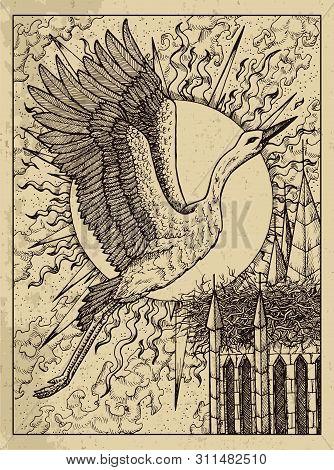 Stork. Mystic Concept For Lenormand Oracle Tarot Card. Vector Engraved Illustration. Fantasy Line Ar