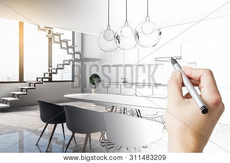 Hand Drawn Kitchen Interior