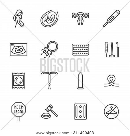 Obstetrics Clinic Flat Line Icons Set. Abortion Protest, Baby Ultrasound, Embryo, Fetus, Pregnant Wo