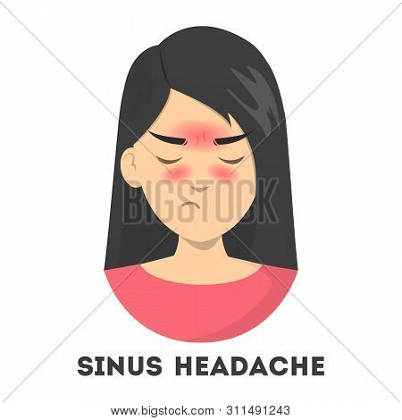 Woman Suffering From The Sinus Headache. Nasal Infection