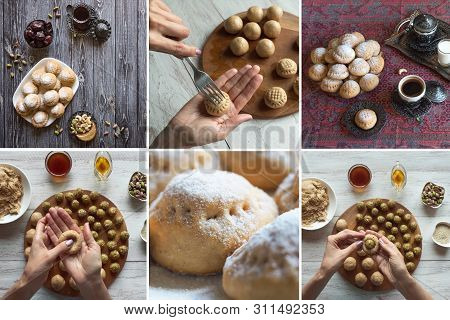 "Collage Of Preparation Of Egyptian Cookies ""kahk El Eid"" - Cookies Of El Fitr Islamic Feast. Ramadan"