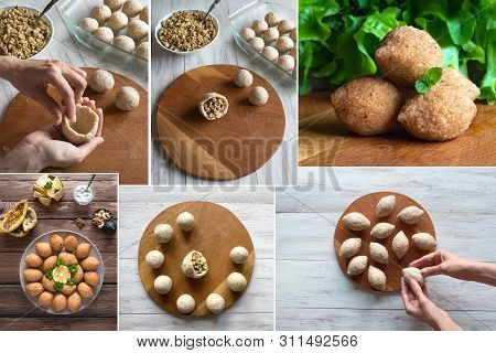 Collage Of Cooking Of Arabic Meat Appetizer Kibbeh. Traditional Arabic Kibbeh With Lamb And Pine Nut