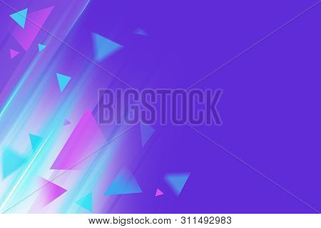 Triangles Burst Abstract. Geometric Shapes Flying In Rays Of High Speed Light. Background, Empty Spa
