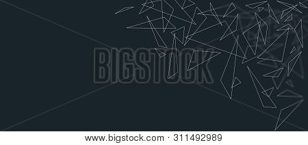 Minimalistc Abstract Triangles Shapes Background. Geometric Pattern On Dark Color Background