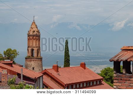 View Of Sighnaghi City And Tiled Roofs, Old Town In The City, Caucasian