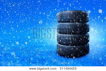 Winter Tires. Banner With Copy Space For Your Text Or Design.