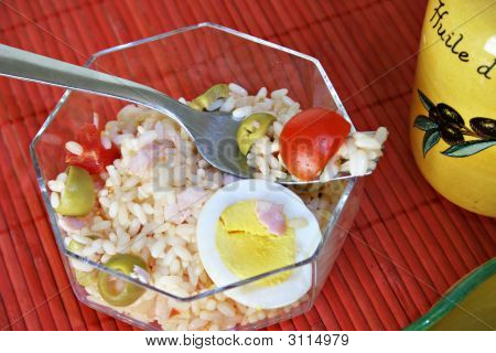 Rice Salad In A Transparent Bowl 3