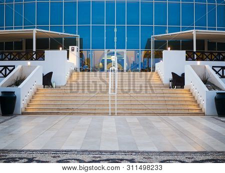 Modern Glass Building Entrance With Stairs, Nobody