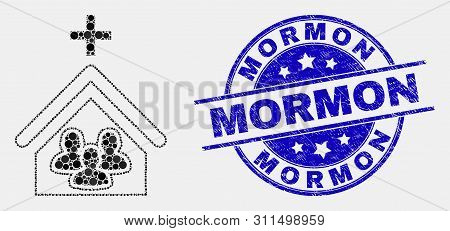 Dotted Church People Mosaic Pictogram And Mormon Seal Stamp. Blue Vector Rounded Scratched Seal Stam