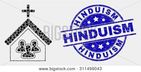 Pixel Church People Mosaic Icon And Hinduism Seal Stamp. Blue Vector Rounded Distress Stamp With Hin