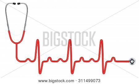 Red Stethoscope In The Shape Of A Heart Beat. Stethoscope Medicine Equipment And Medical Health Care
