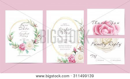 Watercolor Floral Wedding Invitation Template Golden Frame. Hand Drawing Roses And Hibiscus Flower W