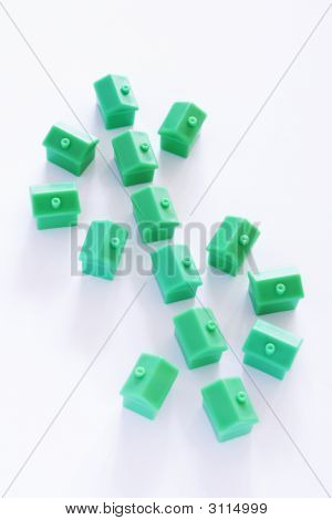 Dollar Sign Made From Green Model Houses
