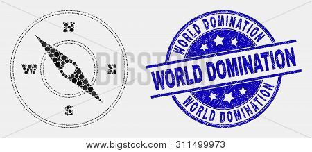 Pixel Compass Mosaic Icon And World Domination Seal Stamp. Blue Vector Round Scratched Seal Stamp Wi