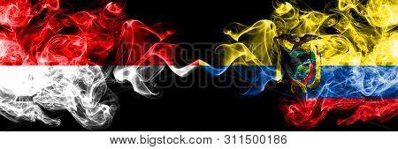 Indonesia Vs Ecuador, Ecuadorian Smoky Mystic Flags Placed Side By Side. Thick Colored Silky Smoke F