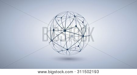 Networks - Transparent Polygonal Globe Design On Grey Wide Background