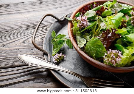 Clay Dish With Green And Violet Lettuce, Lamb's Lettuce Salad With Oregano Flowers On Vintage Metal