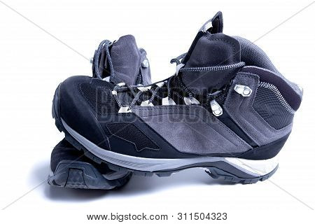 New Trekking Shoes Isolated On White Background. Sport Boots For Mountain Hiking.